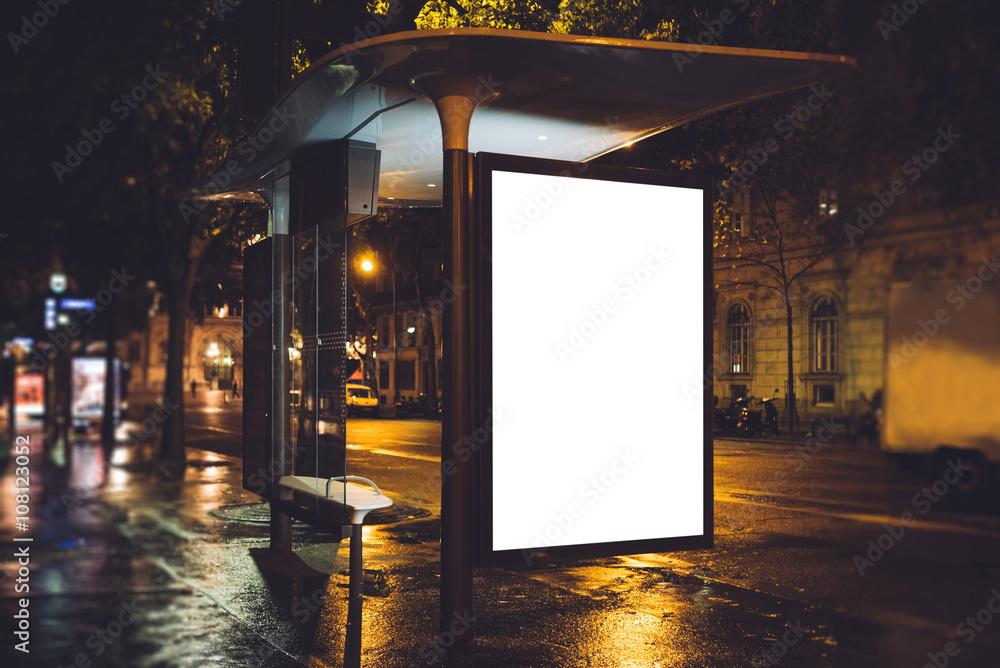 Fototapeta Mock up of light box on the bus stop