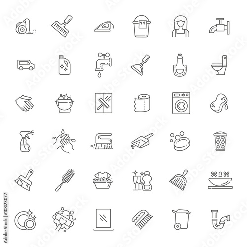 vector outline cleaning icon Wall mural