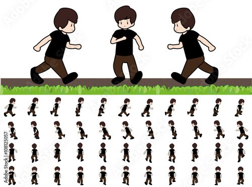 Valokuva  Phases of Step Movements Man in Running Walk Sequence for Game Animation