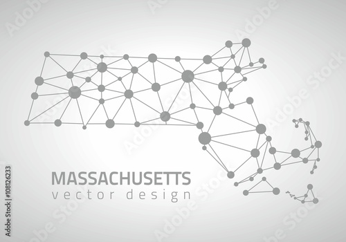 Massachusetts America outline vector map Canvas Print