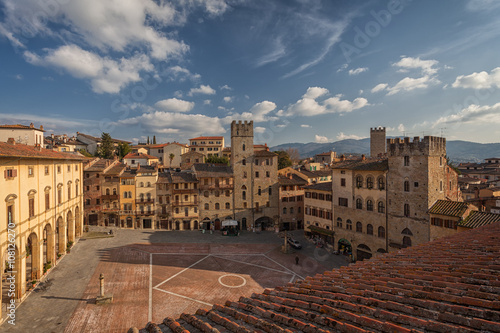 View from the bell tower of the Church of Santa Maria della Pieve, Arezzo, Italy Canvas Print