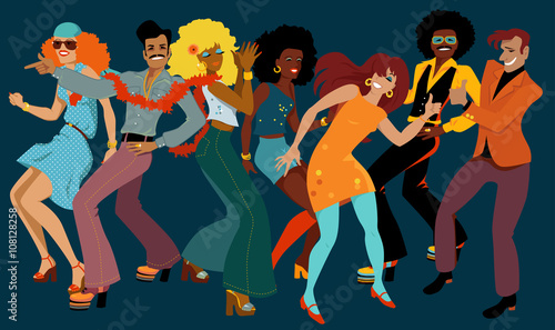 People dressed in 1970s fashion dancing disco in a nightclub, EPS 8 vector illustration, no transparencies - 108128258