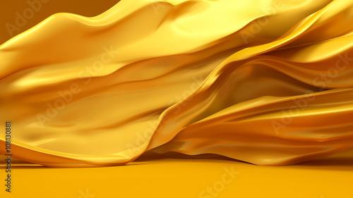 Fotografía  Beautiful golden fabric, developing the wind