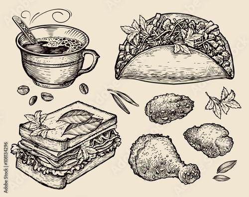 ilustracja-z-kawa-i-jedzeniem
