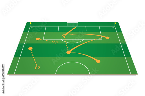 Fotografía  Green soccer field with tactic table. Vector illustration.