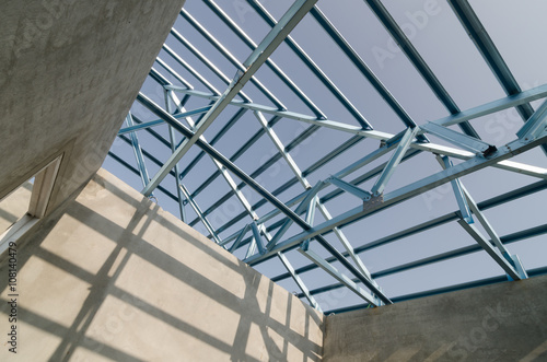 Photo Stands Stairs Structure of steel roof.