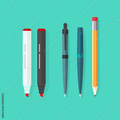 Foto Pens, pencil, markers vector set isolated on green background, ballpoint pens, l