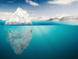 Obraz na Szkle Style iceberg on blue ocean
