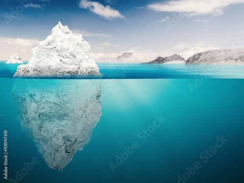 Glaciers iceberg on blue ocean