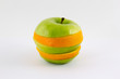 Mixed apple and orange isolated on white background concept