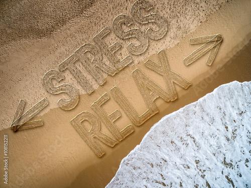 Printed kitchen splashbacks Newspapers Relax - Stress written on the beach