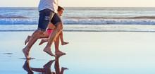 Barefoot Legs In Action. Happy...