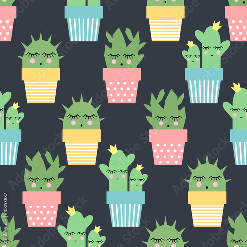 Cotton fabric Cactus in cute pots seamless pattern on dark background. Simple cartoon plant vector illustration. Child drawing style cute sleeping cactus background. Design for fabric, textile and decor.