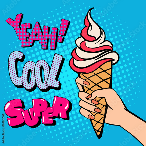 fototapeta na lodówkę Ice Cream Cone with Comic Style Typography. Pop Art.