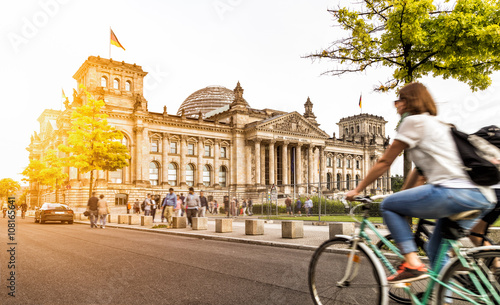 Berlin urban city life with Reichstag at sunset in summer, Germany - 108165641