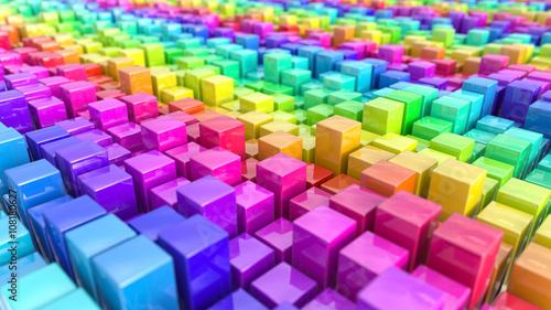 Rainbow coloured cubes