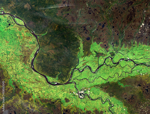 Staande foto Luchtfoto Ob river (summer) from Landsat satellite. Elements of this image furnished by NASA.