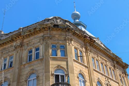 Facade of old house in historic city center. Lviv, Ukraine Canvas-taulu