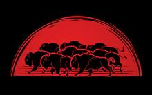 Group Of Buffalo Running Designed On Sunrise Background Graphic Vector