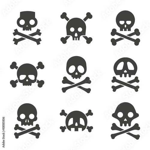 Photo  Simple skull and crossbones icon set