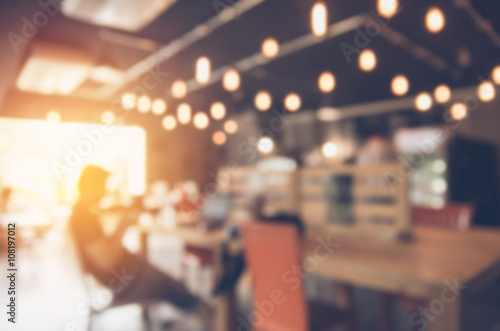 Obraz Blurred background made with Vintage Tones,Coffee shop blur background with bokeh - fototapety do salonu