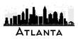 Atlanta City skyline black and white silhouette.