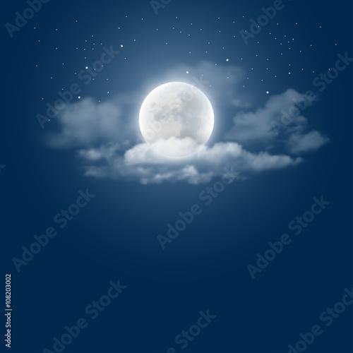 Photographie  Fond de ciel de nuit mystique avec la pleine lune, les nuages et les étoiles