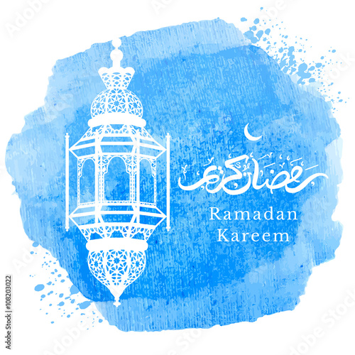 Ramadan kareem greeting with arabic lantern and hand drawn ramadan kareem greeting with arabic lantern and hand drawn calligraphy lettering which means ramadan m4hsunfo