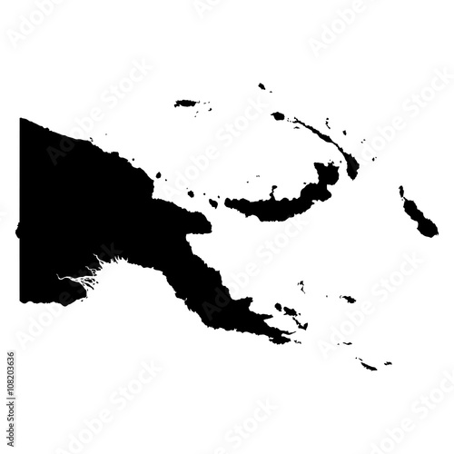 Fotografie, Obraz Papua New Guinea black map on white background vector