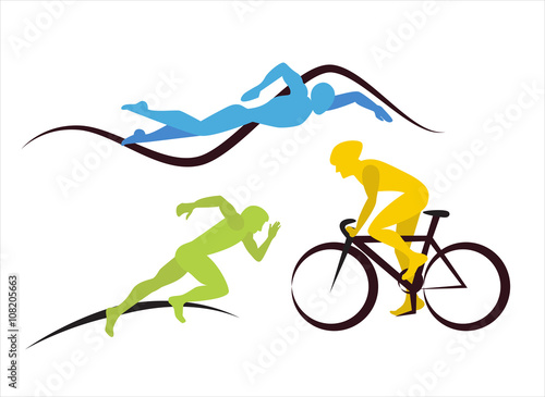 Icons for triathlon  and other spot events Canvas Print
