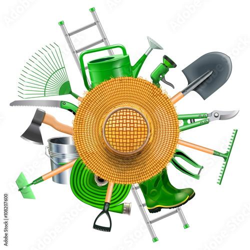 Fototapeta Vector Garden Accessories with Straw Hat obraz