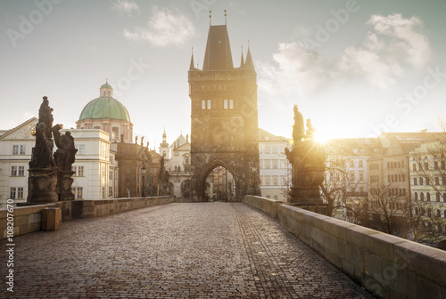 Staande foto Praag Sunrise on Charles Bridge in Prague, Czech Republic