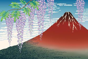 Obraz na Szkle 富士に藤の花