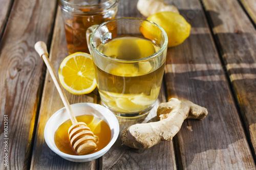 Photo  Ginger tea with honey and lemon