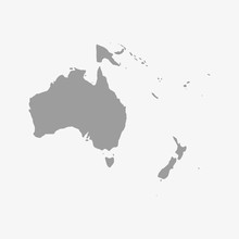 Map Of Oceania In Gray On A Wh...