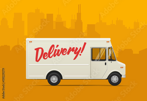 Fotografía  Delivery truck. Flat styled vector illustration.
