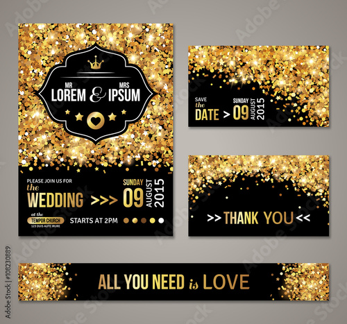 Fotografía  Wedding invitation Gold confetti and black background