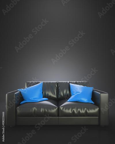 Divano In Pelle Azzurro.Divano Nero In Pelle Con Cuscini Azzurri Buy This Stock