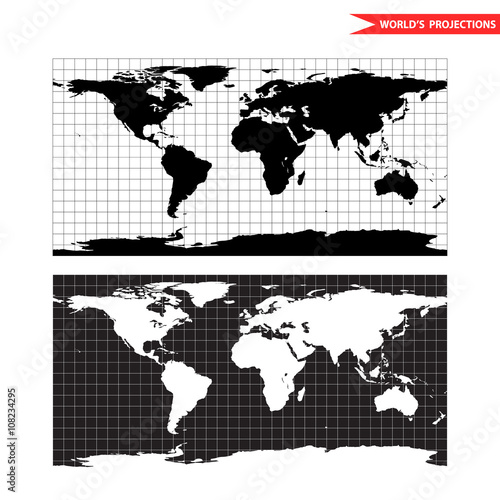 Equirectangular world map projection black and white world map equirectangular world map projection black and white world map vector illustration gumiabroncs Choice Image