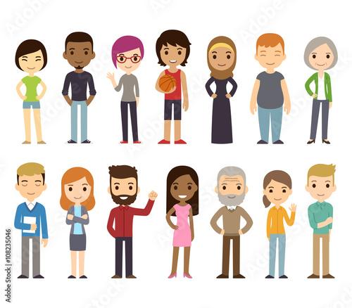 Cartoon diverse people