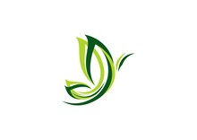 Butterfly Logo, Abstract Green Butterfly Symbol Icon Vector Design