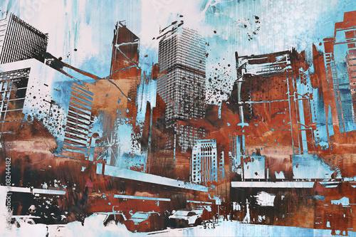 namalowana-ilustracja-widoku-na-miejskie-wiezowce-w-grunge-teksturze