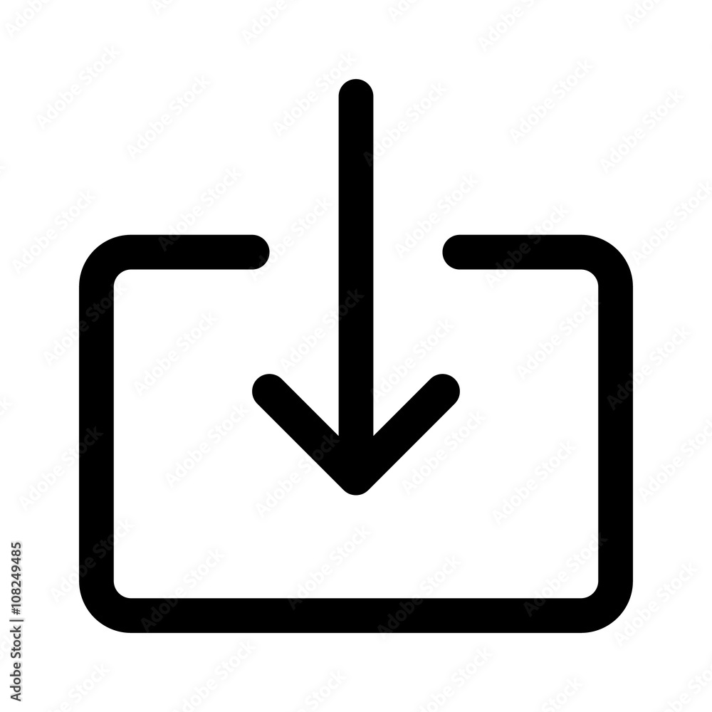 Fototapeta Import file or import document download line art icon for apps and websites
