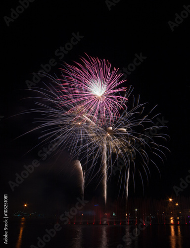 Poster Pleine lune Fireworks, light and sound show water curtain celebration.