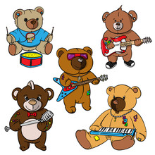Rock And Roll Teddy Bear For Children Drawn Hero,print For T Shirts,stickers And Labels,tattoo