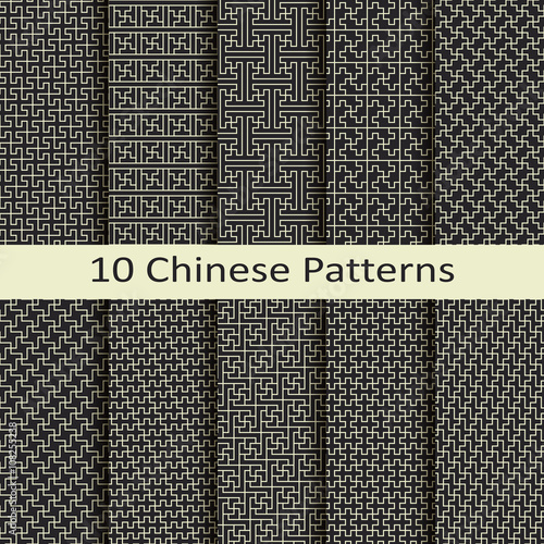Fototapeta vector set of ten chinese patterns obraz na płótnie