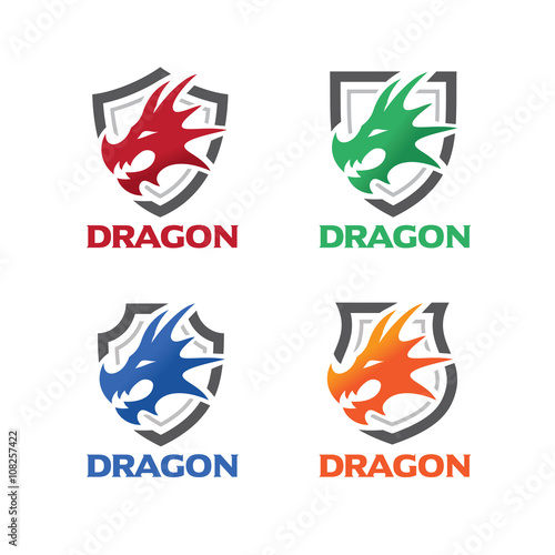 dragon head with shield logo template buy this stock vector and
