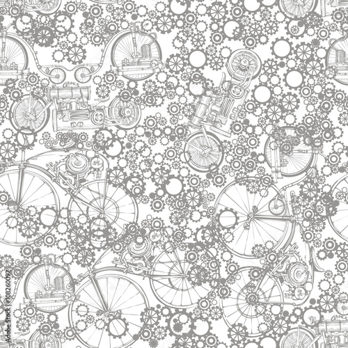 seamless pattern steampunk with old bikes and gears template