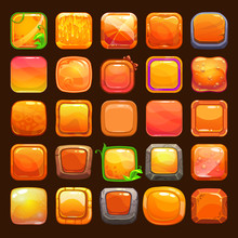 Funny Cartoon Orange Buttons Collection