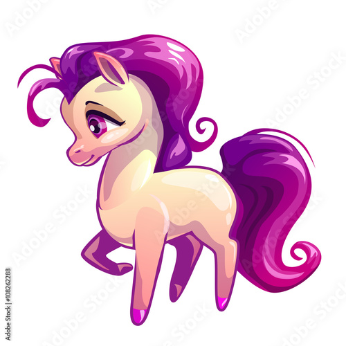Foto op Canvas Pony Cute cartoon standing litle horse